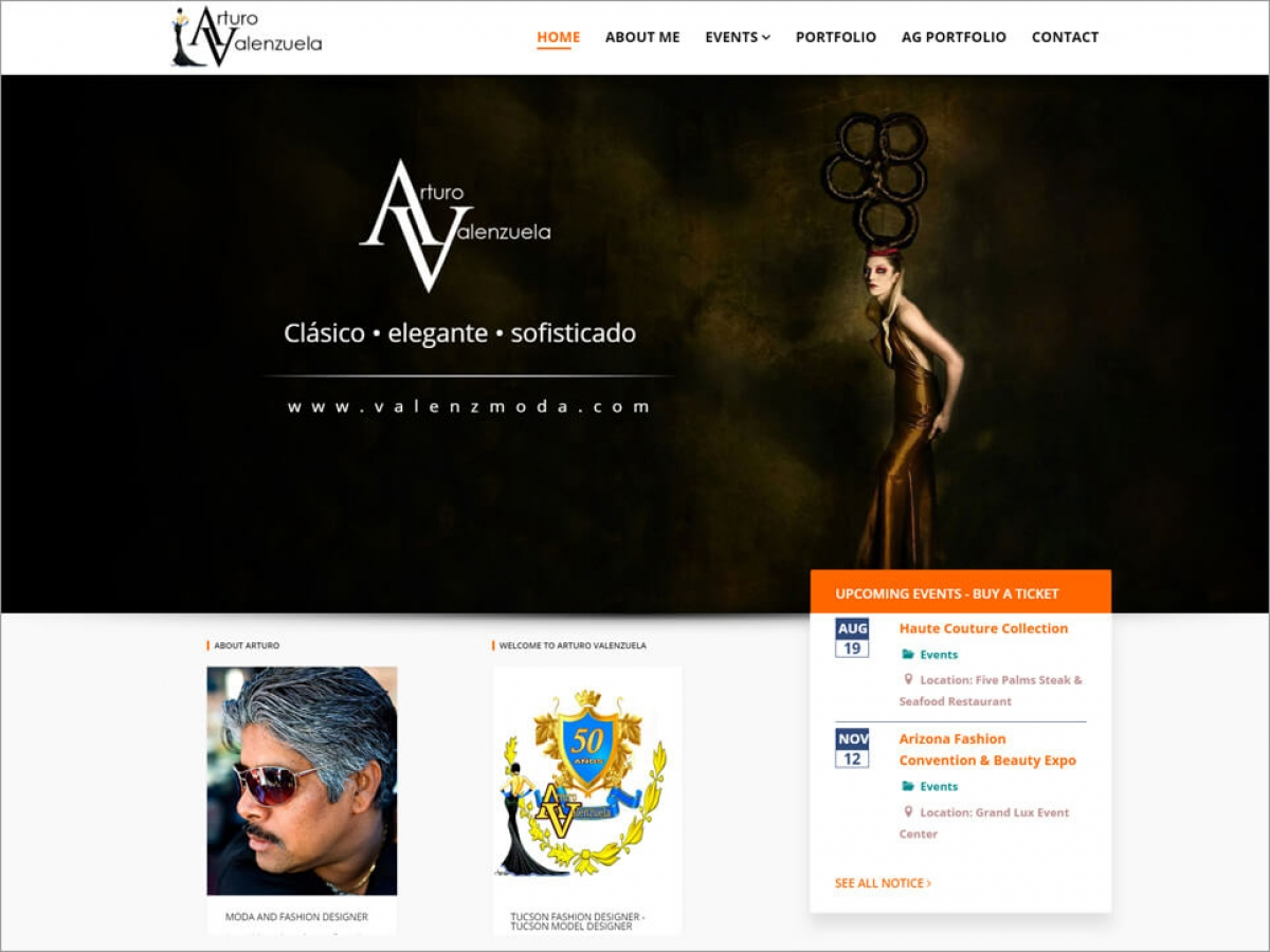 Arturo Valenzuela - Fashion Designer | Affordable Web Portfolio
