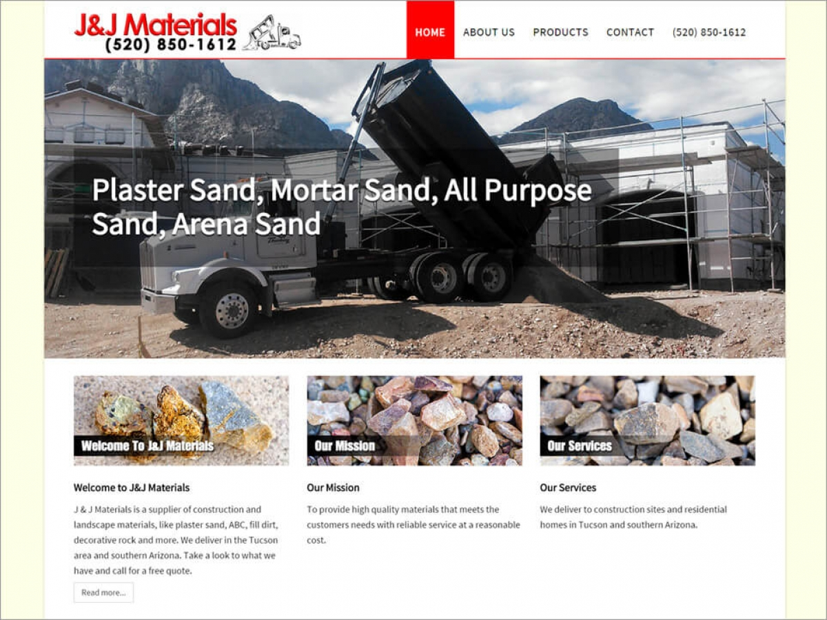 J&J Materials - Plaster and Sand | Affordable Web Portfolio