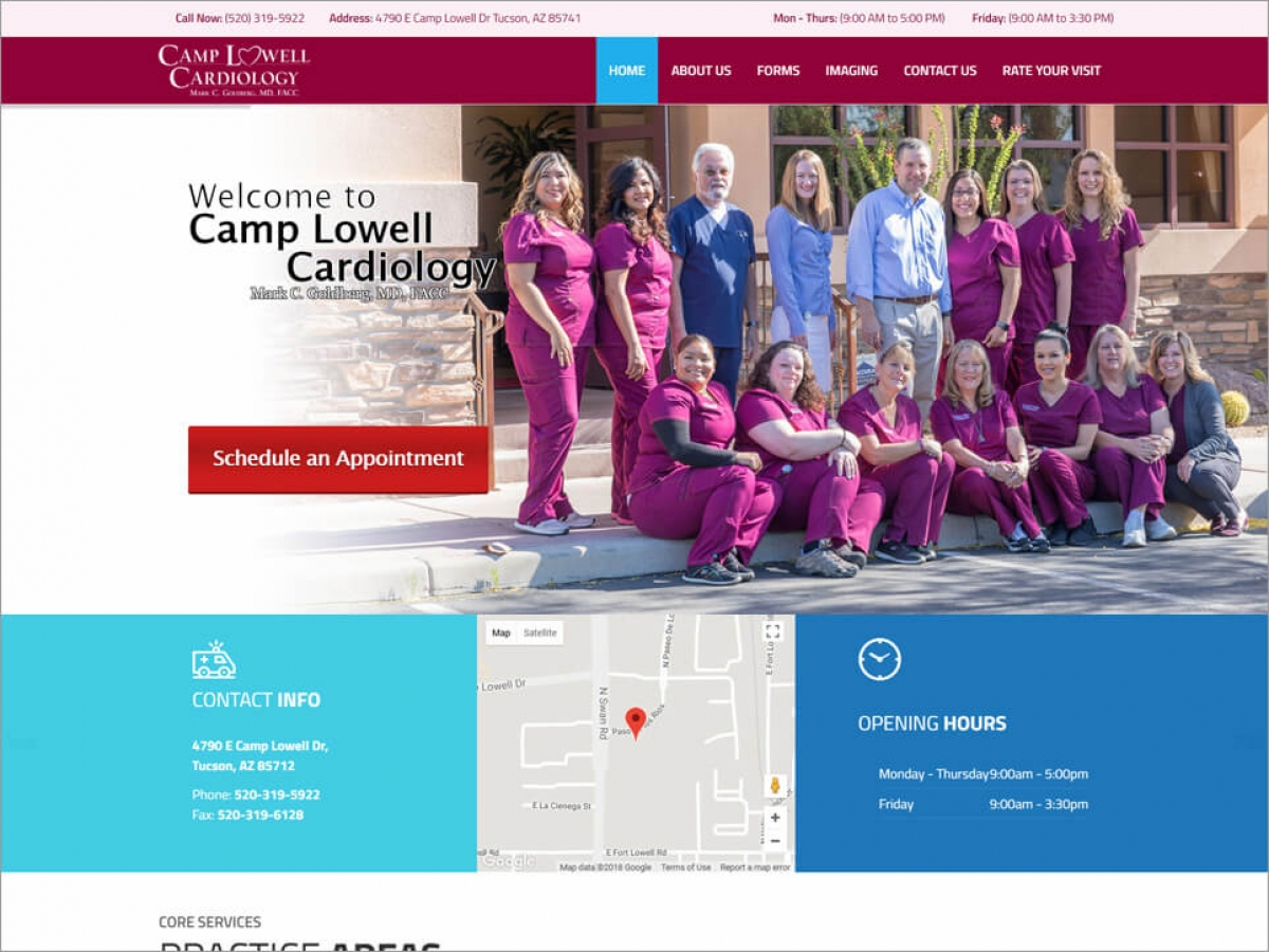Camp Lowell Cardiology | Affordable Web Portfolio